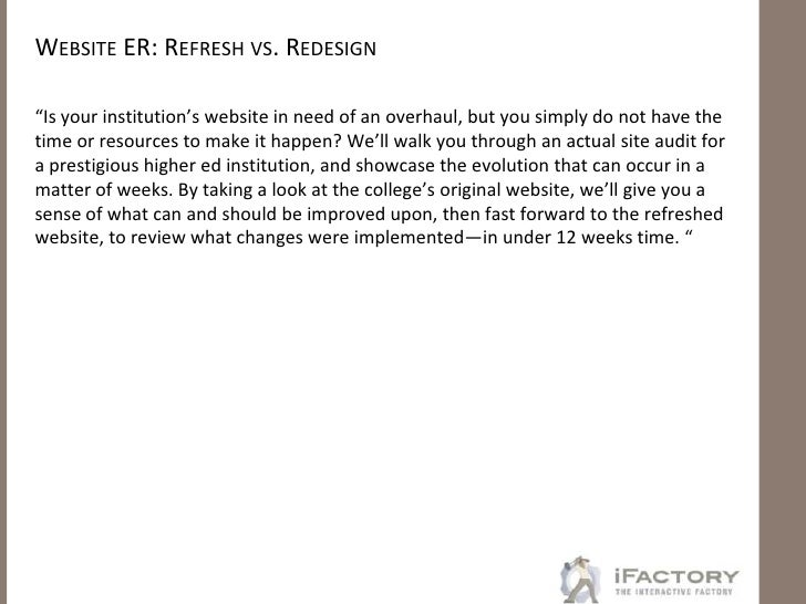 Website ER: Rapid Refresh vs. Total Redesign for Triaging Immediate Needs Slide 2