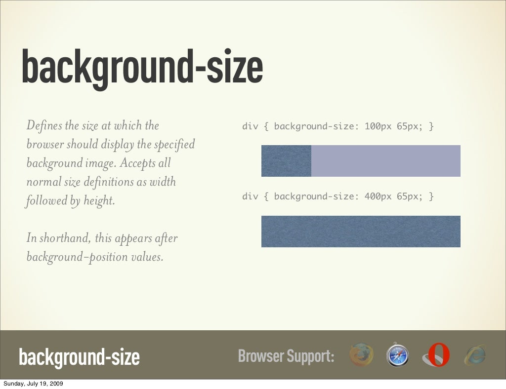 Background Size Defines The Size At