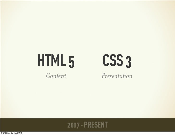 HTML 5                 CSS 3                         Content              Presentation                                   2...