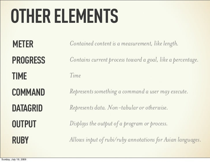OTHER ELEMENTS         METER          Contained content is a measurement, like length.        PROGRESS        Contains cur...