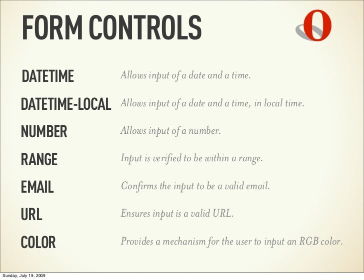 FORM CONTROLS         DATETIME        Allows input of a date and a time.        DATETIME-LOCAL   Allows input of a date an...
