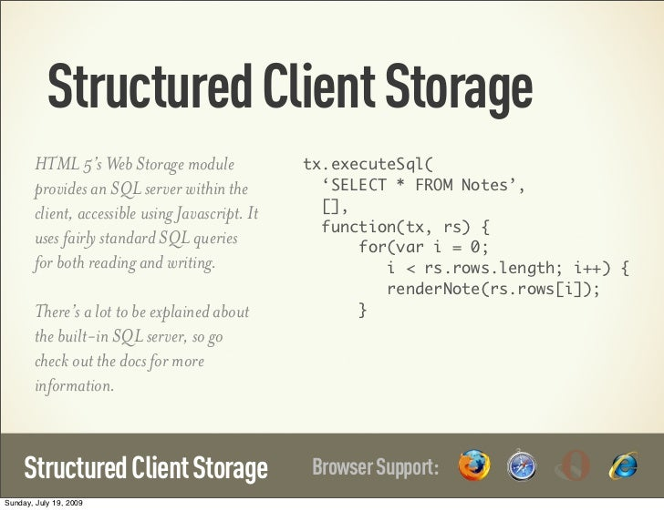 Structured Client Storage        HTML 5's Web Storage module               tx.executeSql(        provides an SQL server wi...