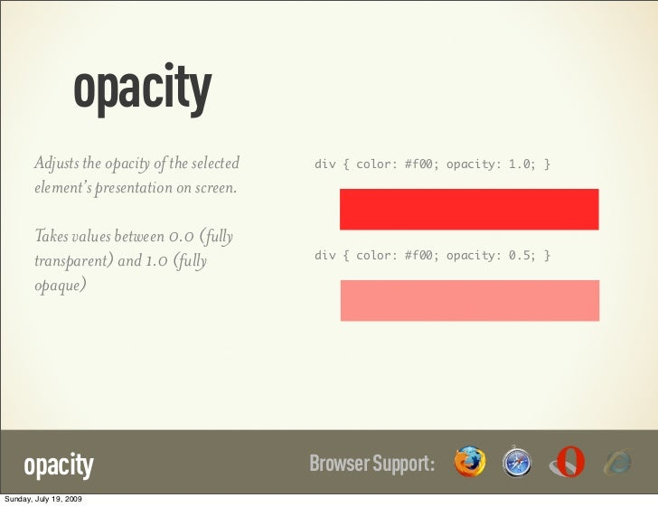opacity        Adjusts the opacity of the selected   div { color: #f00; opacity: 1.0; }        element's presentation on s...