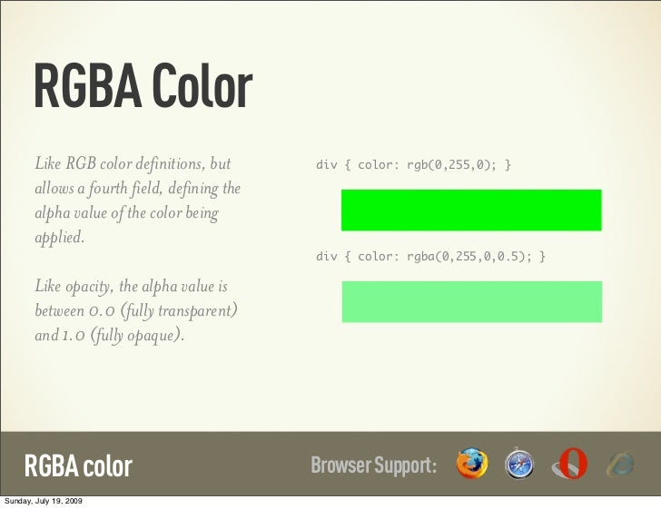 RGBA Color        Like RGB color definitions, but       div { color: rgb(0,255,0); }        allows a fourth field, definin...