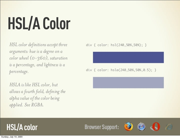 HSL/A Color        HSL color definitions accept three    div { color: hsl(240,50%,50%); }        arguments: hue is a degre...