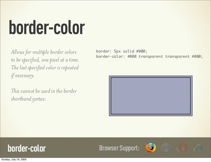 border-color        Allows for multiple border colors       border: 5px solid #000;                                       ...