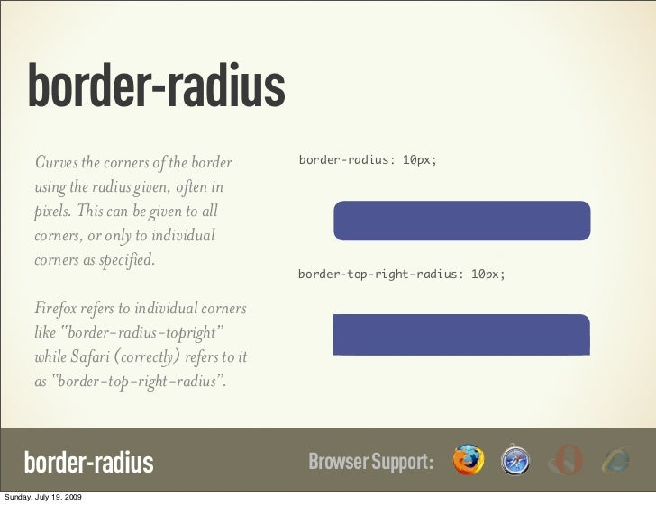 border-radius        Curves the corners of the border        border-radius: 10px;        using the radius given, often in ...
