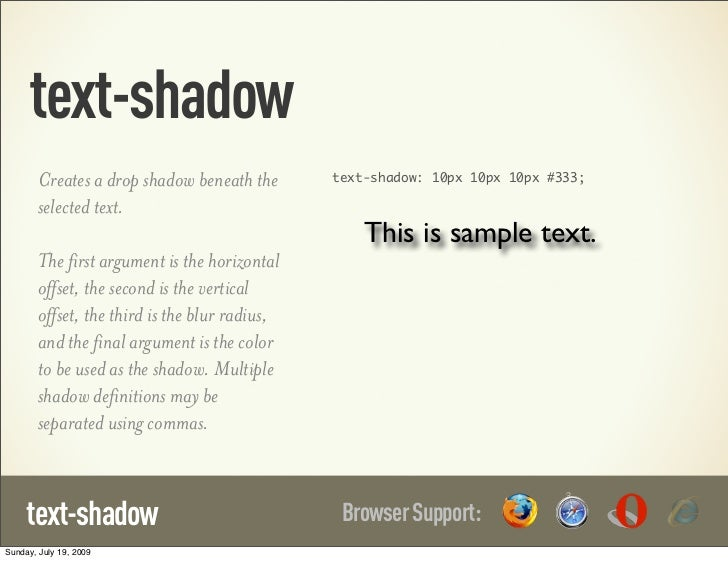 text-shadow        Creates a drop shadow beneath the       text-shadow: 10px 10px 10px #333;        selected text.        ...