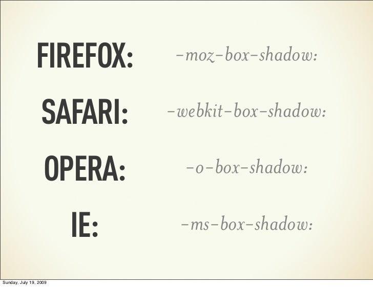 FIREFOX:       -moz-box-shadow:                  SAFARI:     -webkit-box-shadow:                   OPERA:       -o-box-sha...
