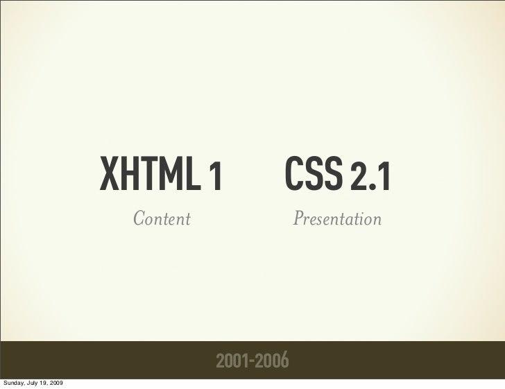 XHTML 1            CSS 2.1                         Content               Presentation                                   20...