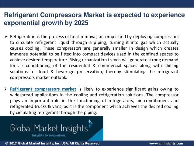 © 2017 Global Market Insights, Inc. USA. All Rights Reserved Refrigerant Compressors Market is expected to experience expo...