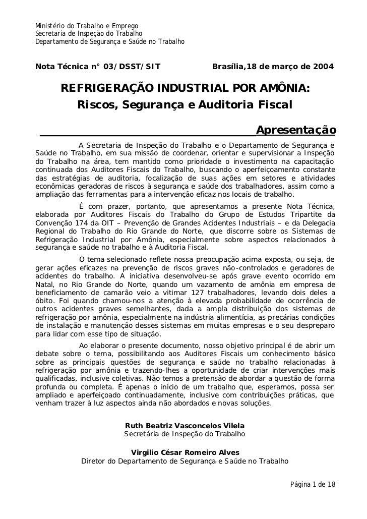 Ministério do Trabalho e EmpregoSecretaria de Inspeção do TrabalhoDepartamento de Segurança e Saúde no TrabalhoNota Técnic...