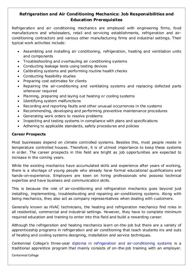 refrigeration and air conditioning mechanics job