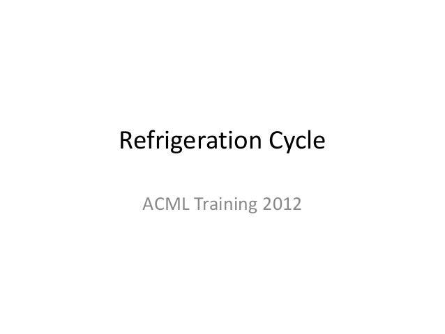 Refrigeration Cycle  ACML Training 2012