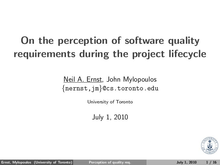 On the perception of software quality requirements during the project lifecycle