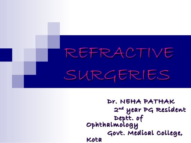 REFRACTIVE SURGERIES Dr. NEHA PATHAK 2 nd year PG Resident Deptt. of Ophthalmology Govt. Medical College, Kota