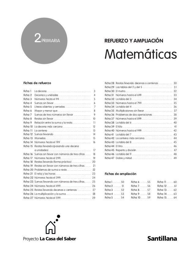 Matemáticas Fichas de refuerzo Ficha 1 La decena . . . . . . . . . . . . . . . . . . . . . . . . . . . . . . . . . 3 Ficha...