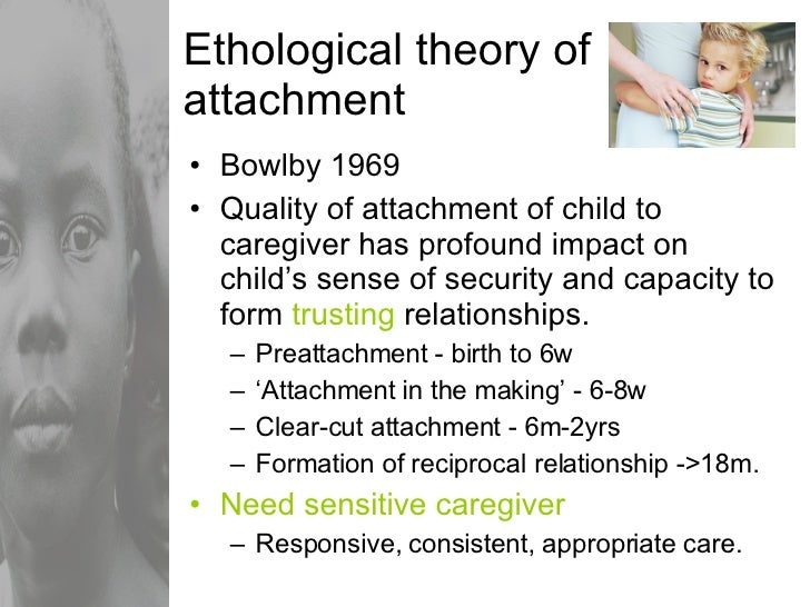 Ethological theory of attachment <ul><li>Bowlby 1969 </li></ul><ul><li>Quality of attachment of child to caregiver has pro...