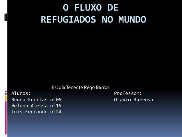 O FLUXO DE          REFUGIADOS NO MUNDO              Escola Tenente Rêgo BarrosAlunos:                                    ...