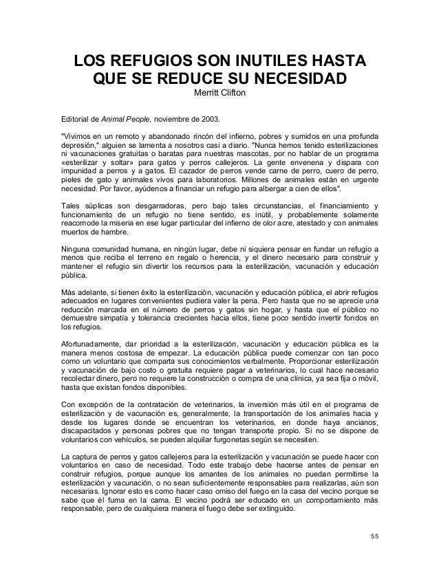 LOS REFUGIOS SON INUTILES HASTA QUE SE REDUCE SU NECESIDAD Merritt Clifton Editorial de Animal People, noviembre de 2003. ...