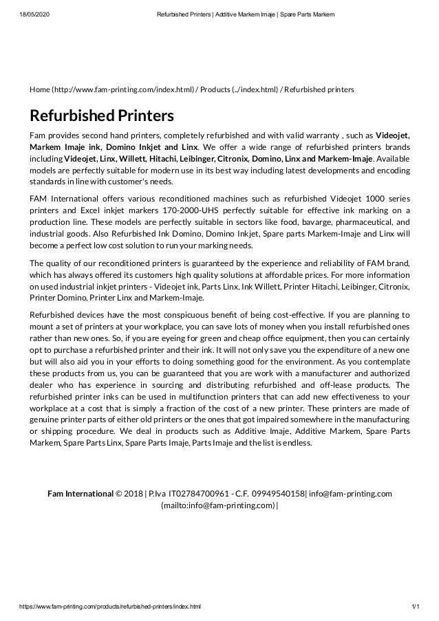 18/05/2020 Refurbished Printers | Additive Markem Imaje | Spare Parts Markem https://www.fam-printing.com/products/refurbi...