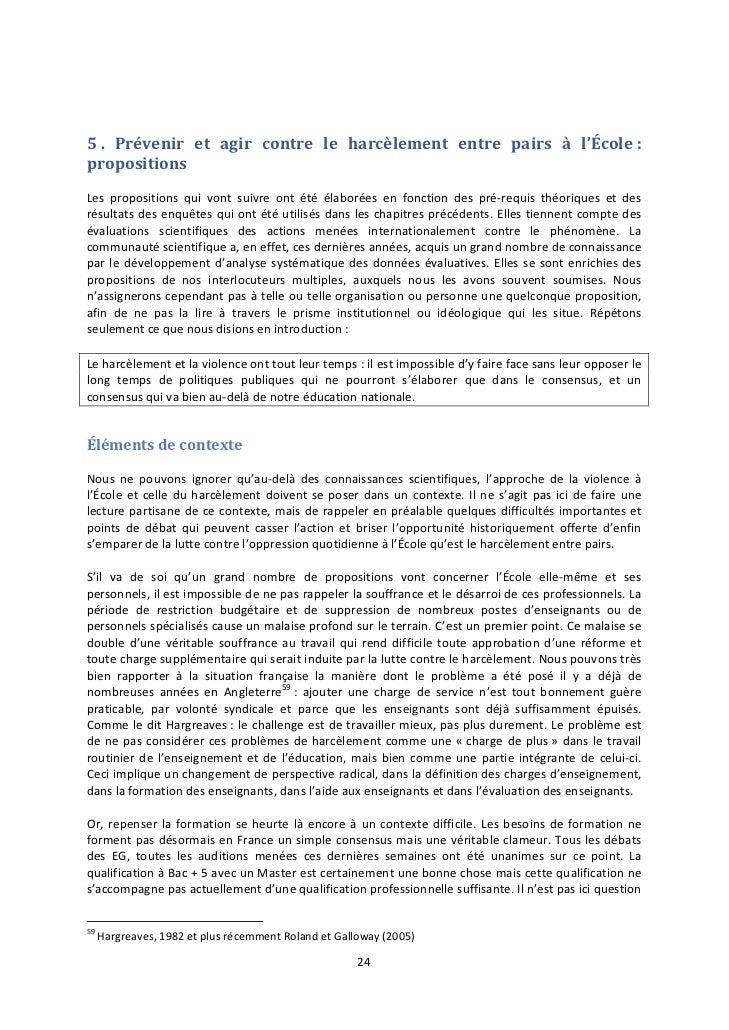 5 . Prévenir et agir contre le harcèlement entre pairs à l'École :propositionsLes propositions qui vont suivre ont été éla...