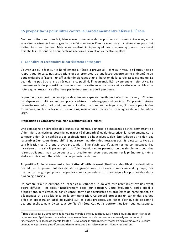 15 propositions pour lutter contre le harcèlement entre élèves à l'ÉcoleCes propositions sont, en fait, bien souvent une s...
