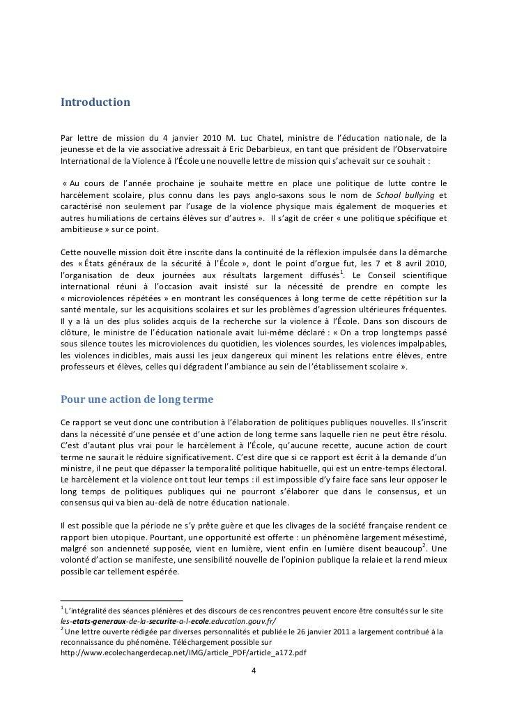 IntroductionPar lettre de mission du 4 janvier 2010 M. Luc Chatel, ministre de l'éducation nationale, de lajeunesse et de ...