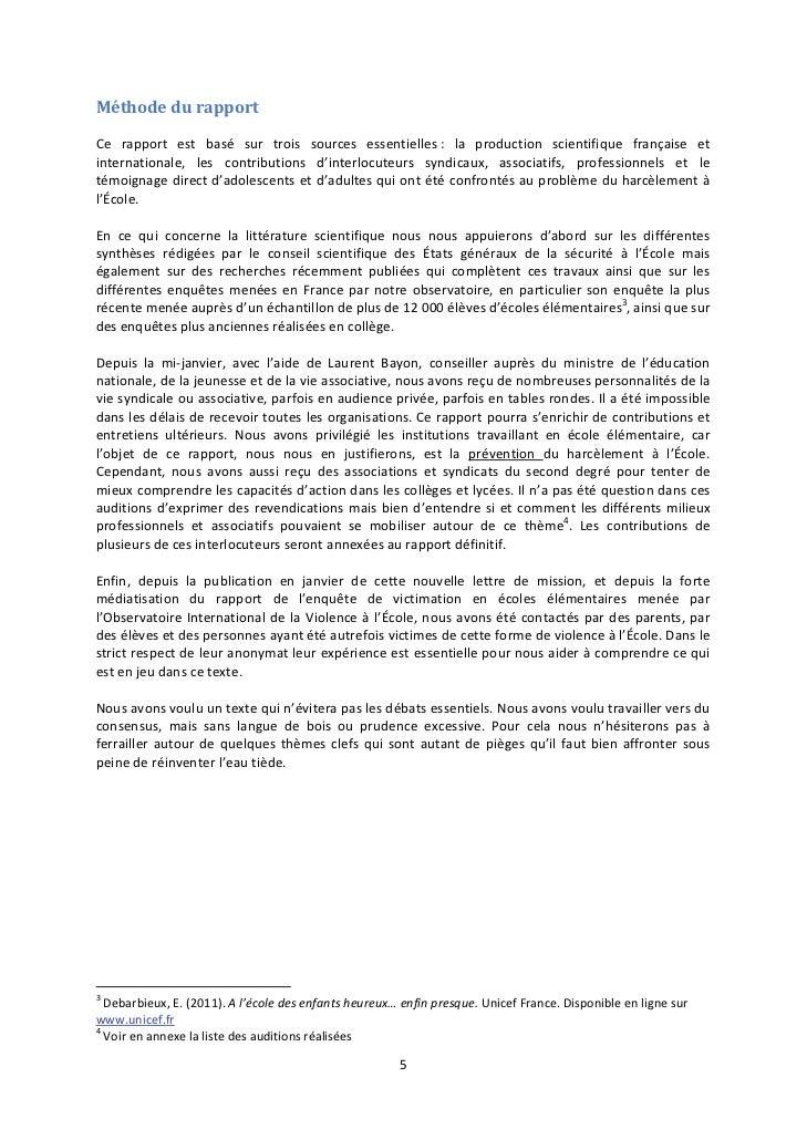 Méthode du rapportCe rapport est basé sur trois sources essentielles : la production scientifique française etinternationa...