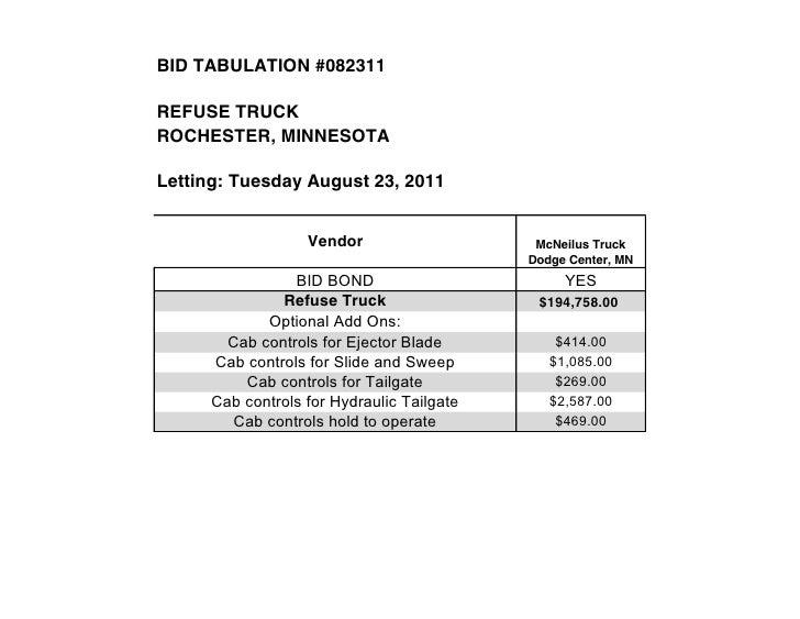 BID TABULATION #082311REFUSE TRUCKROCHESTER, MINNESOTALetting: Tuesday August 23, 2011                   Vendor           ...