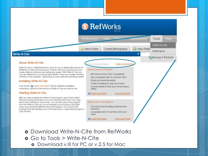 refworks write and cite download google