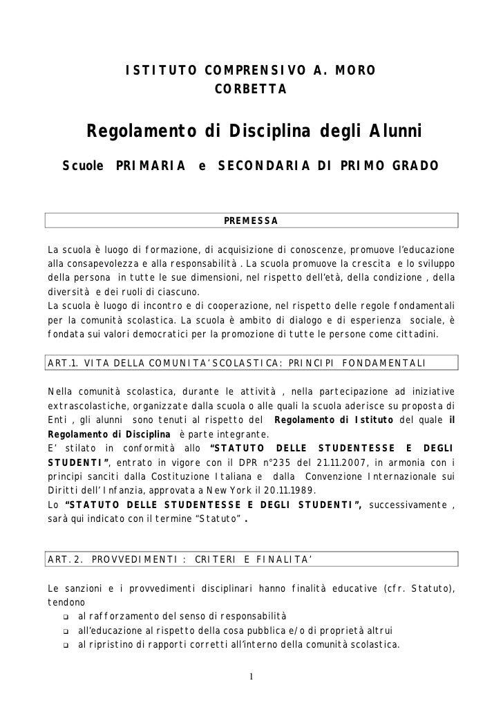 ISTITUTO COMPRENSIVO A. MORO                           CORBETTA           Regolamento di Disciplina degli Alunni    Scuole...