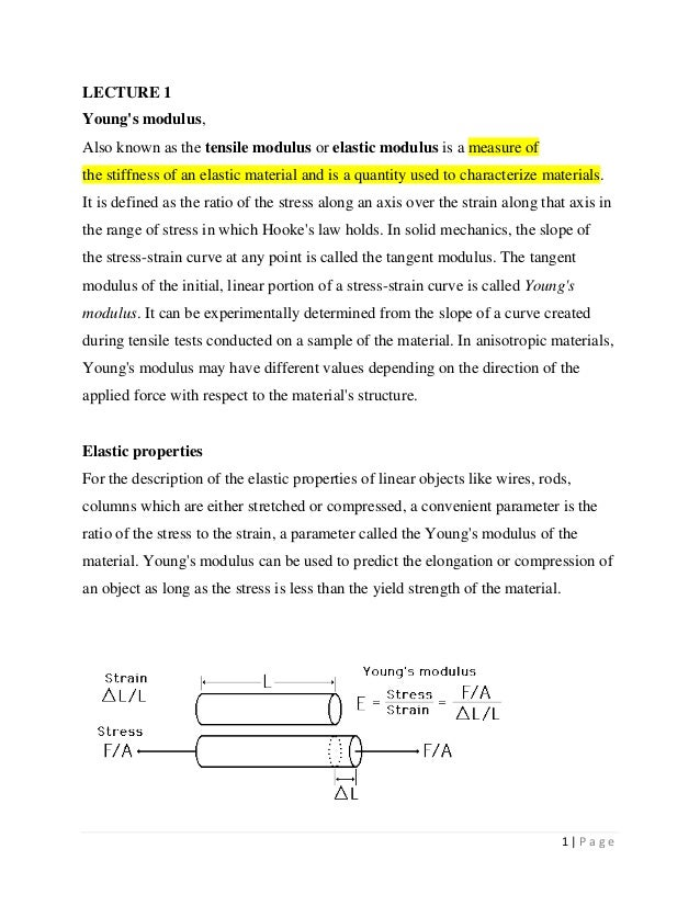 1   P a g eLECTURE 1Youngs modulus,Also known as the tensile modulus or elastic modulus is a measure ofthe stiffness of an...