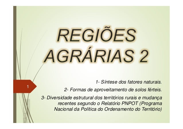 1- Síntese dos fatores naturais. 2- Formas de aproveitamento de solos férteis. 3- Diversidade estrutural dos territórios r...