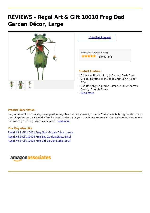 REVIEWS   Regal Art U0026 Gift 10010 Frog DadGarden Décor,  LargeViewUserReviewsAverage Customer Rating5.0