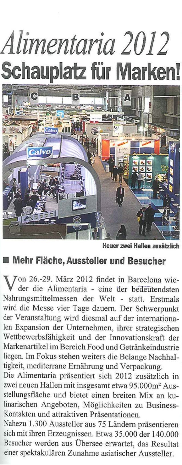 Alimentaria 2012: Schauplatz für Marken! Regal (Austria), enero 2012