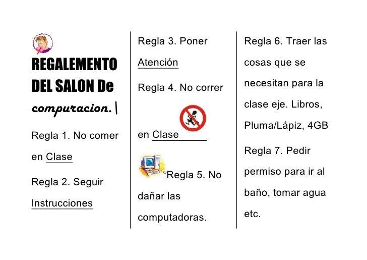 Regalemento del salon de compuracion for 10 reglas del salon de clases en ingles