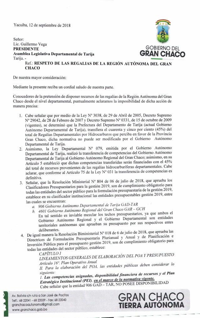 Yacuiba, 12 de septiembre de 2018 Se�or: Lic. Guillermo Vega PRESIDENTE Asamblea Legislativa Departamental de Tarija Tarij...