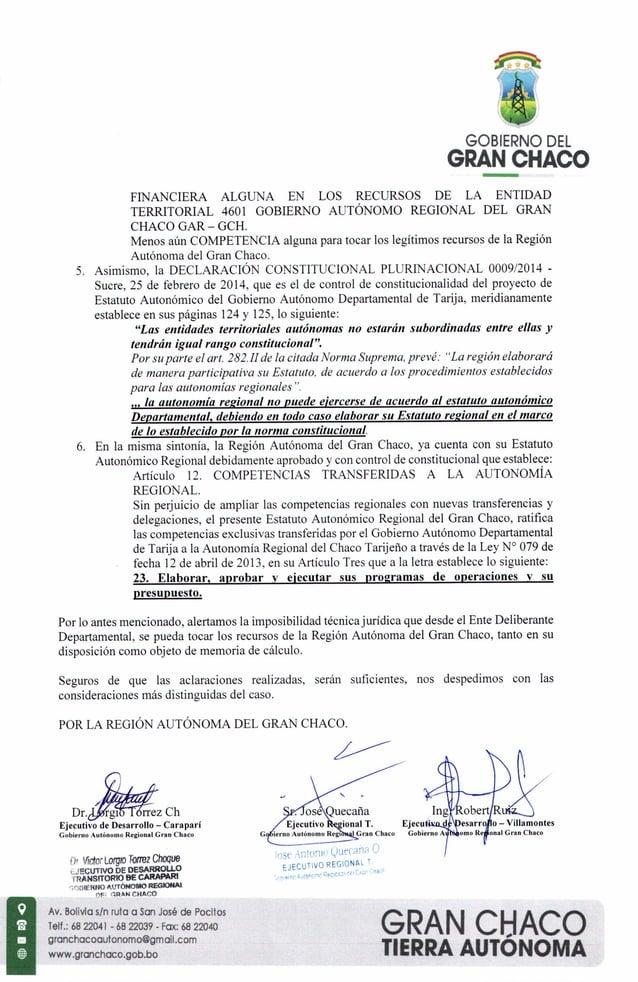 GOBIERNO DEL GRAN CHACO FINANCIERA ALGUNA EN LOS RECURSOS DE LA ENTIDAD TERRITORIAL 4601 GOBIERNO AUT�NOMO REGIONAL DEL GR...