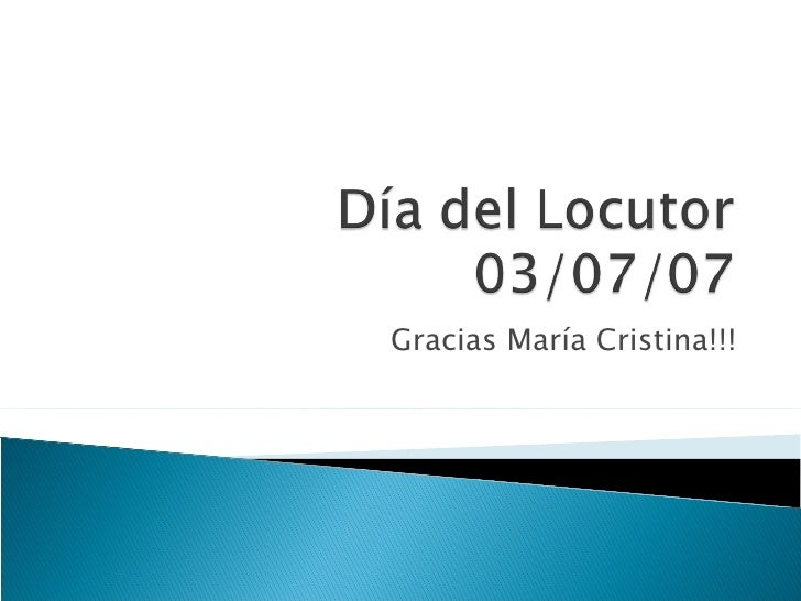 Gracias María Cristina!!!