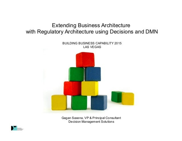 Extending Business Architecture with Regulatory Architecture using Decisions and DMN BUILDING BUSINESS CAPABILITY 2015 LAS...