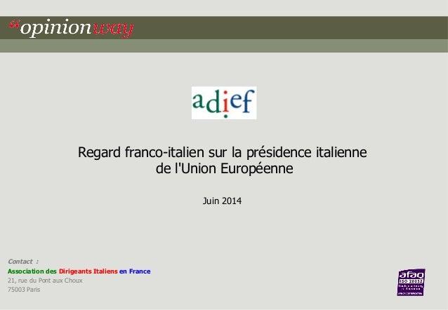 Regard franco-italien sur la présidence italienne  de l'Union Européenne  Juin 2014  Contact :  Association des Dirigeants...