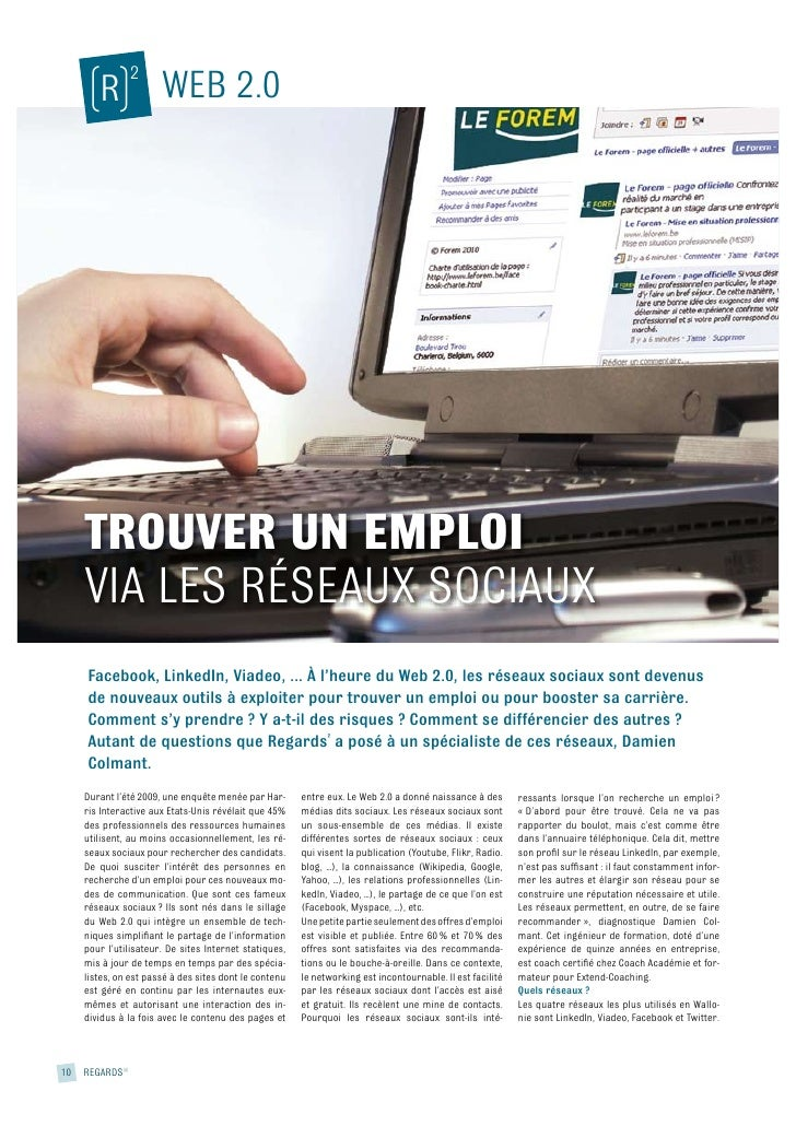 2       (R) WEB 2.0          TROUVER UN EMPLOI      VIA LES RÉSEAUX SOCIAUX       Facebook, LinkedIn, Viadeo, ... À l'heur...