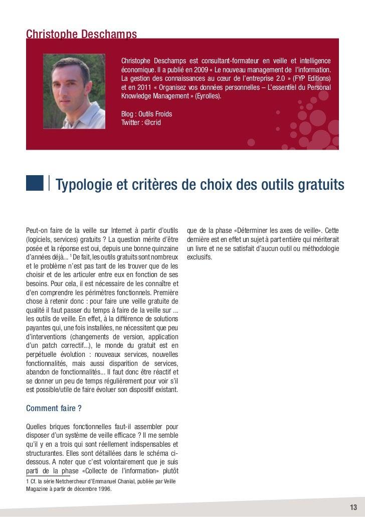 Christophe Deschamps                                         Christophe Deschamps est consultant-formateur en veille et in...