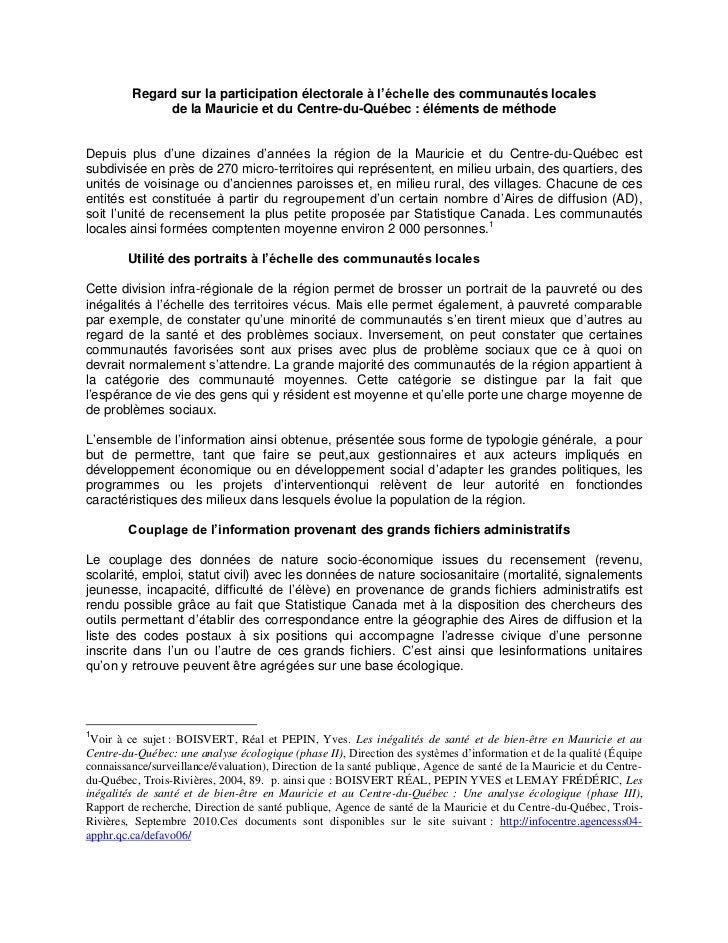 Regard sur la participation électorale à l'échelle des communautés locales              de la Mauricie et du Centre-du-Qué...