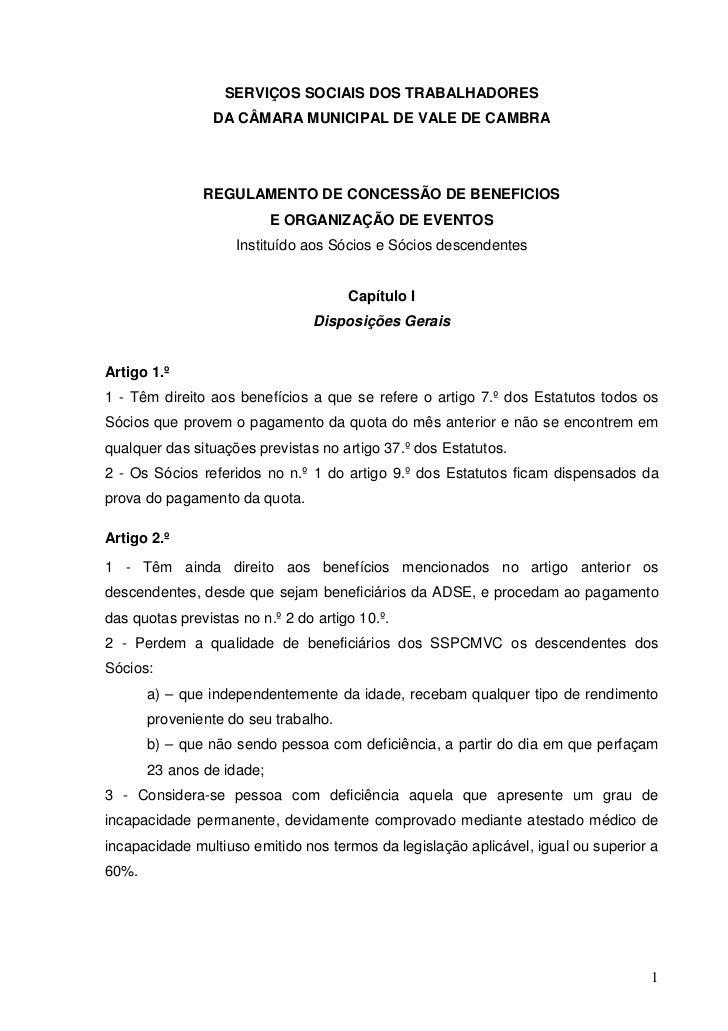 SERVIÇOS SOCIAIS DOS TRABALHADORES                 DA CÂMARA MUNICIPAL DE VALE DE CAMBRA               REGULAMENTO DE CONC...