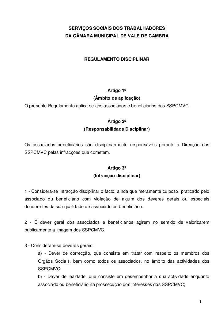 SERVIÇOS SOCIAIS DOS TRABALHADORES                    DA CÂMARA MUNICIPAL DE VALE DE CAMBRA                             RE...