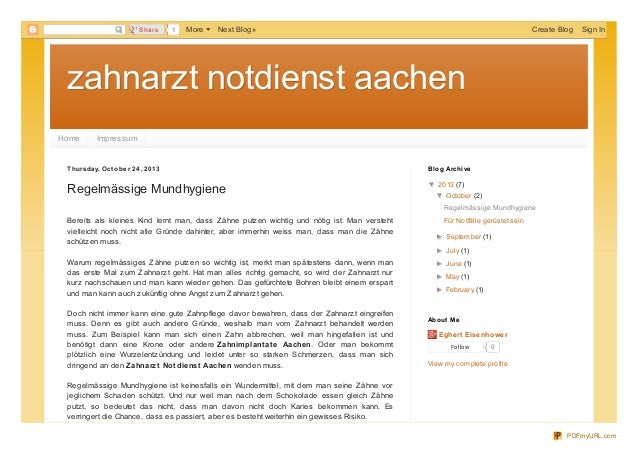 Share  1  More  Next Blog»  Create Blog  Sign In  zahnarzt notdienst aachen Home  Impressum  T hursd ay, O ct o b e r 24 ,...