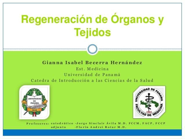 Regeneración de Órganos y Tejidos Gianna Isabel Becerra Hernández E s t . M e d i c i n a U n i v e r s i d a d d e P a n ...