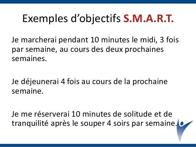 Exemples d'objectifs S.M.A.R.T. Je marcherai pendant 10 minutes le midi, 3 fois par semaine, au cours des deux prochaines ...